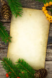 Vintage paper and Christmas decoration Stock Photography