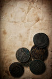 Vintage paper with coins Stock Photos