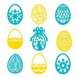 Vintage Paper Cut Easter Egg Filigree Set. A vector illustration of 9 vintage paper cut easter egg filigree set vector illustration