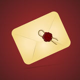Vintage paper envelope with sealing wax stamp Royalty Free Stock Photography