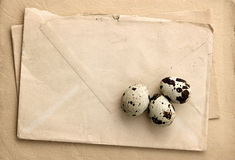 Vintage paper and envelopes with eggs Royalty Free Stock Photos