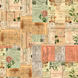 Vintage paper ephemera, text and flowers collage. Collage of vintage papers, ephemera, text, and vintage botanical flowers royalty free stock photos