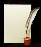 Vintage paper with feather Royalty Free Stock Photos