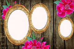 Vintage paper frames over grunge wood background Royalty Free Stock Photo