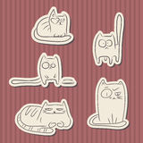 Vintage paper funny cats Royalty Free Stock Images