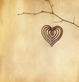 Vintage paper  with  heart Royalty Free Stock Photos