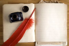 Vintage paper with ink feather and inkwell Royalty Free Stock Photo