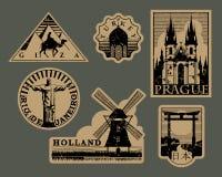 Vintage paper landmarks travel labels vector illustration