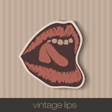 Vintage paper lips Stock Photography