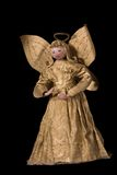 Vintage Paper Mache Angel. Paper mache angel in gold gown, hand crafted in the mid 20th century Stock Image