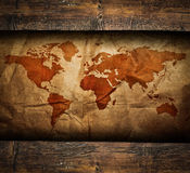 Vintage paper map in old wooden frame. This high quality image represents Vintage paper map in old wooden frame Royalty Free Stock Images
