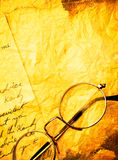 Vintage paper with old  eyeglasses Royalty Free Stock Images
