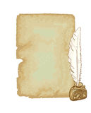 Vintage paper and pen. Illustratiopn Royalty Free Stock Images