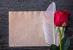 Vintage paper red natural rose plume on wooden Royalty Free Stock Photos