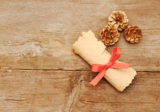 Vintage paper roll with gold cones Royalty Free Stock Image