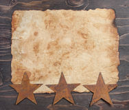 Vintage paper and rusty stars Stock Photo