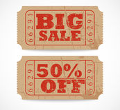 Vintage paper sale ticket Stock Photography
