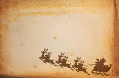 Vintage paper and Santa Claus. On Sledge With Deer Vector Illustration