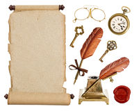 Vintage paper scroll and antique accessories Royalty Free Stock Image