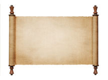 Vintage paper scroll. Vintage blank paper scroll isolated on white background with copy space royalty free stock image