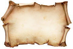 Vintage paper scroll isolated on white royalty free stock photos
