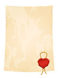 vintage paper sheet with blank heart wax seal Stock Images