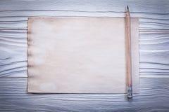 Vintage paper sheet for menu pencil on wooden board horizontal v Royalty Free Stock Images