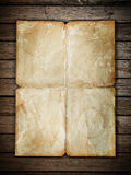 Vintage paper sheet at wood Stock Images