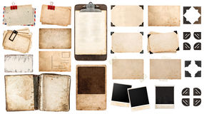 Vintage paper sheets, book, old photo frames and corners, antiqu. E clipboard isolated on white background Royalty Free Stock Photography