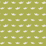 Vintage paper ship polygon green pattern Stock Photo