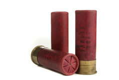 Vintage Paper Shotgun Shells. Isolated on a white background. Shot shell size is 12 gauge target load Stock Photo