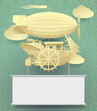 Vintage paper steampunk template with a complex fantastic flying. Ship on classic background. Web page design in retro style. There is in addition a vector Royalty Free Stock Image