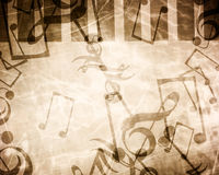 Vintage paper texture. With added music notes Royalty Free Stock Photo
