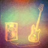 Vintage paper texture, abstract background. Vintage paper texture, art music background, electric bass guitar stock illustration