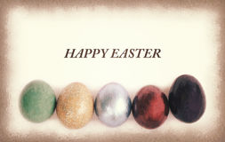 Vintage paper texture, Colorful easter eggs with sample text Stock Image