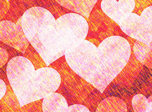 Vintage Paper Texture with painted hearts Royalty Free Stock Image