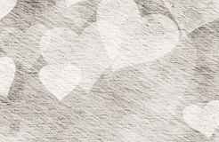 Vintage Paper Texture with painted hearts. Vintage Paper Texture with painted heart Stock Image