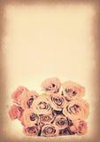 Vintage paper texture, pink roses bouquet Stock Image