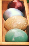 Vintage paper textures, Colorful easter eggs in wooden box(Shallow dof) Royalty Free Stock Photo