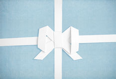 Vintage paper with a white ribbon and bow Stock Photo
