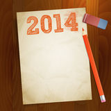 Vintage paper width 2014 new year. Illustration Stock Photo