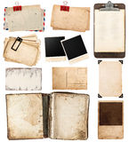 Vintage Papers, Postcards, Frames, Clipboard Royalty Free Stock Photos