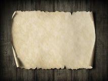 Vintage parchment or map on dark wood 3d illustration Stock Images