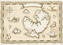 Vintage parchment vector brown map royalty free illustration