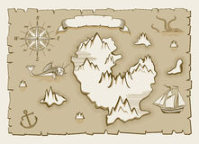 Vintage parchment vector map elements. Illustration of pirate old map Stock Photo