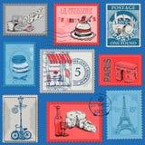 Vintage Paris and France. Set of Stamps - Vintage Paris and France - for design and scrapbook - in Stock Image