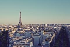 Vintage Paris skyline with Eiffel Tower Stock Images