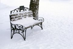 Vintage park bench in the snow next to a tree. stock image