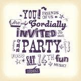 Vintage Party Invitation Poster With Hand Lettering vector illustration