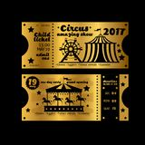 Vintage party invitation. Retro circus carnival ticket template Vector golden tickets isolated on black background. Illustration of coupon and announcement Stock Photos